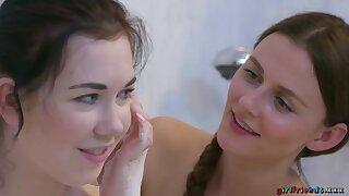 Daphne Angel takes soapy bath fro Kira Zen