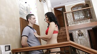 MATURE4K. Mature in red bra takes stepson's pistol yawning