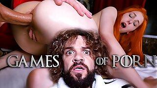 Jean-Marie Corda presents Game Of Porn parody: Just married Lady Sansa assfucked away from her midget skimp after giving him a deepthroat blowjob