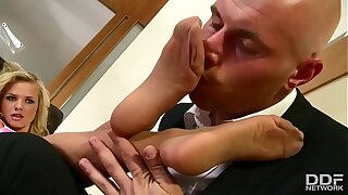 Super Sexy Blonde slut everywhere stockings foot fucks in the manner of Magic!